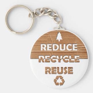Reduzca reciclan la reutilización llavero redondo tipo pin