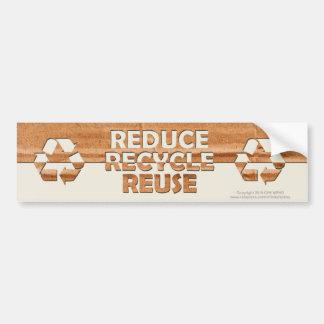 Reduzca reciclan la reutilización pegatina para auto