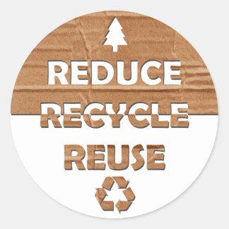 Reduzca reciclan la reutilización pegatina redonda
