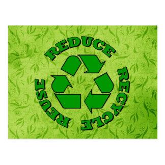 Reduzca reciclan la reutilización postales