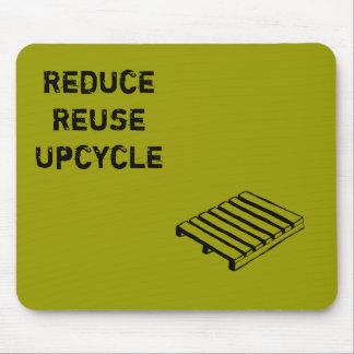 Reduzca, reutilice, mousepad de Upcycle