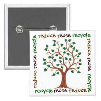 Reduzca, reutilice, recicle - el Pin del personali Pin Cuadrada 5 Cm