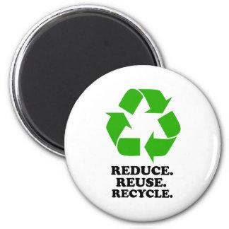 Reduzca, reutilice, recicle - la vida verde imán redondo 5 cm