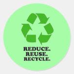 Reduzca, reutilice, recicle - la vida verde pegatina