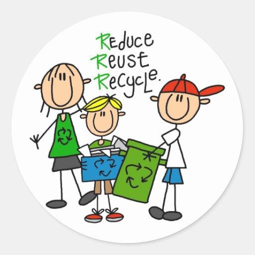 Reduzca, reutilice, recicle las camisetas y los pegatina redonda