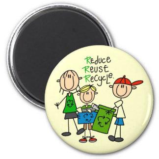 Reduzca, reutilice, recicle las camisetas y los re imán redondo 5 cm