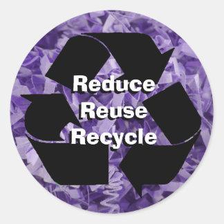 Reduzca, reutilice, recicle pegatina redonda