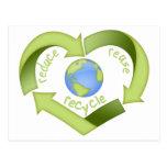 Reduzca, reutilice, recicle postales