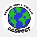 Reduzca, reutilice, recicle, respete a los pegatin pegatina redonda