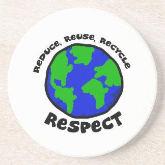 Reduzca, reutilice, recicle, respete el práctico d posavasos personalizados
