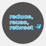 reduzca, reutilice, retweet etiqueta redonda