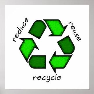 Reduzca reutilización reciclan el poster