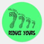 Reduzca su huella del carbono etiqueta redonda