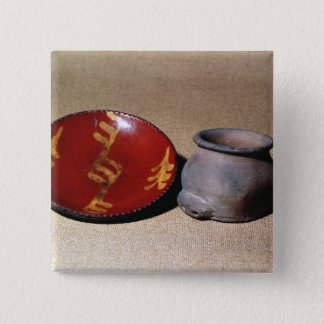 Redware cup and dish, c.1780 button