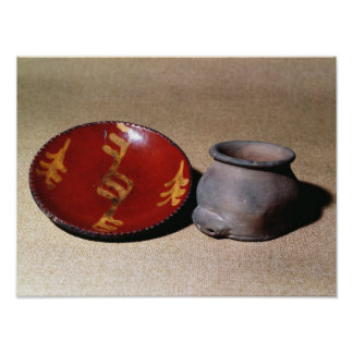 Redware cup and dish, c.1780 poster