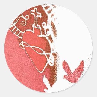redwhite classic round sticker