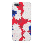 Redwhite, floral azul iPhone 5 protector