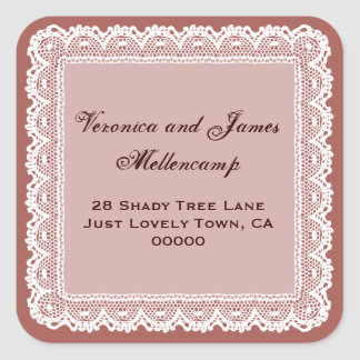 Redwood and White Lacy Address Labels Square Sticker