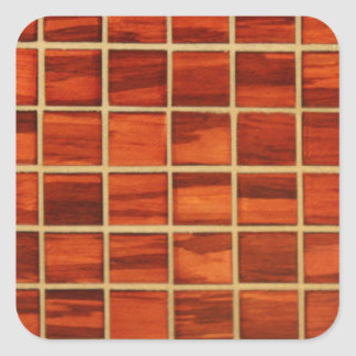 Redwood Bathroom Tiling Background Square Sticker
