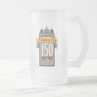 Redwood City 150th Anniversary Frosted Glass Beer Mug