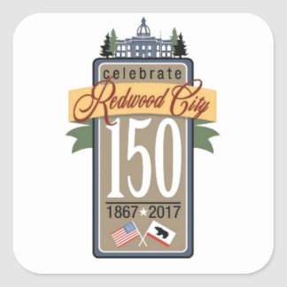 Redwood City 150th Anniversary Square Sticker