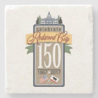 Redwood City 150th Anniversary Stone Coaster
