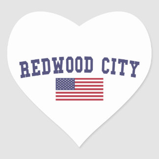 Redwood City US Flag Heart Sticker
