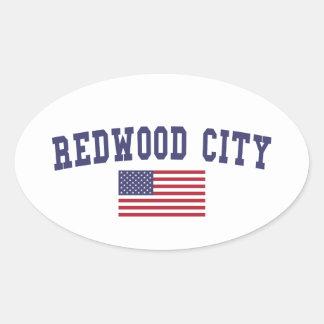 Redwood City US Flag Oval Sticker