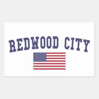 Redwood City US Flag Rectangular Sticker
