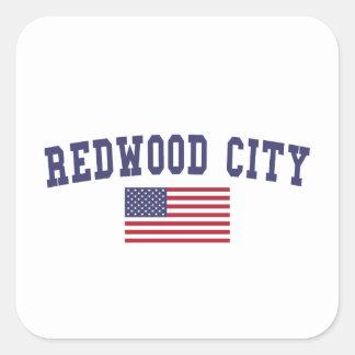 Redwood City US Flag Square Sticker