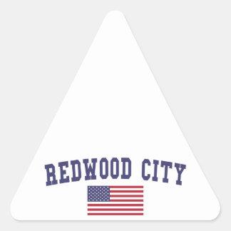 Redwood City US Flag Triangle Sticker