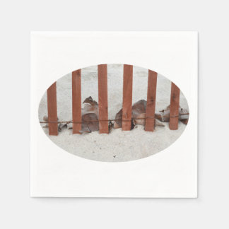 redwood fence sea grape leaves sand image paper napkin
