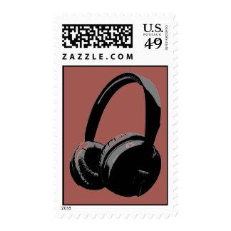 Redwood Gray Black Pop Art Headphone Stamps