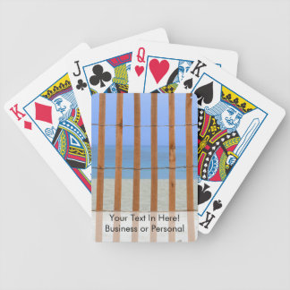 redwood lathe fence beach background bicycle playing cards