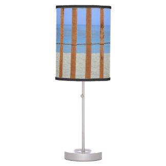 redwood lathe fence beach background desk lamp