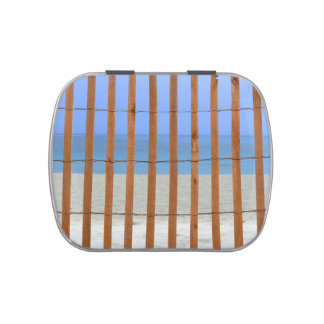 redwood lathe fence beach background jelly belly tins