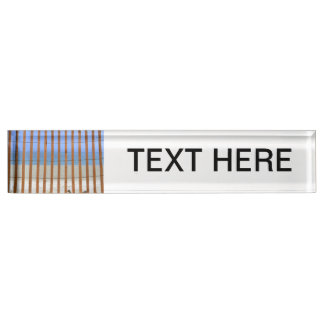 redwood lathe fence beach background desk name plates