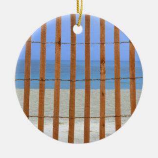 redwood lathe fence beach background christmas ornament