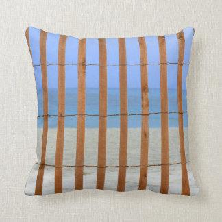 redwood lathe fence beach background throw pillow