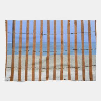 redwood lathe fence beach background towel