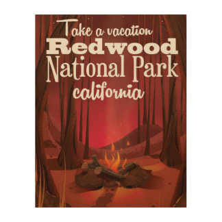 Redwood National Park, California travel poster Wood Wall Art