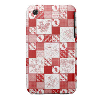 Redwork Floral Quilt iPhone 3G/3Gs Barely There iPhone 3 Cases