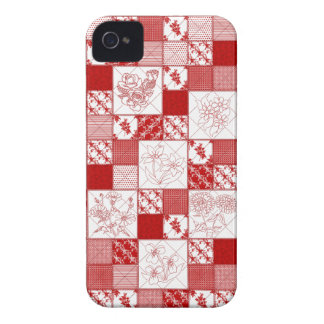 Redwork Floral Quilt iPhone 4/4s Barely There Case-Mate iPhone 4 Case