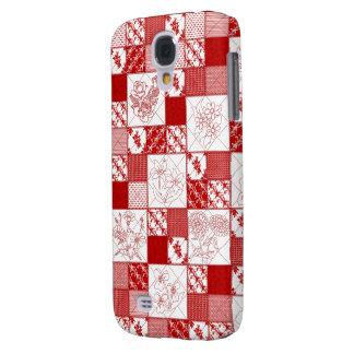 Redwork Floral Quilt Samsung Galaxy s4 Case