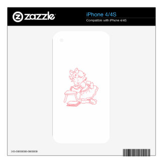 REDWORK GIRL PRAYING DECAL FOR iPhone 4