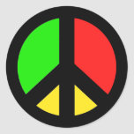 Redyellowgreen Peace Round Stickers