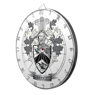 Reece Family Crest Coat of Arms Dart Board