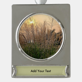 Reed At Sunset Silver Plated Banner Ornament