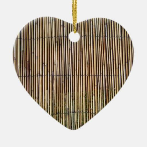 Reed pattern Double-Sided heart ceramic christmas ornament