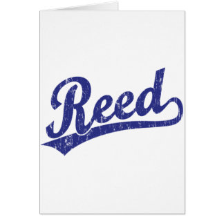 Reed  script logo in blue card